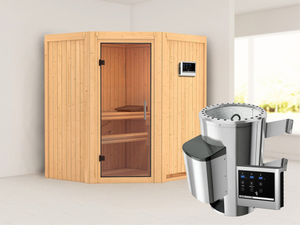 Sauna Systemsauna Tonja Klarglas Ganzglastür + Plug & Play Saunaofen mit externer Steuerung