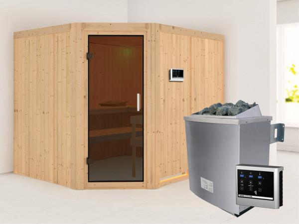 Systemsauna Malin graphit Ganzglastür, inkl. 9 kW Saunaofen ext. Steuerung