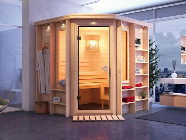 Sauna Massivholzsauna Cortona mit Dachkranz, inkl. 9 kW Bio-Kombiofen ext. Steuerung