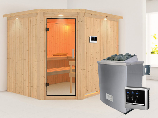Sauna Systemsauna Malin mit Dachkranz, Klarglas Ganzglastür + 9 kW Saunaofen mit ext. Strg