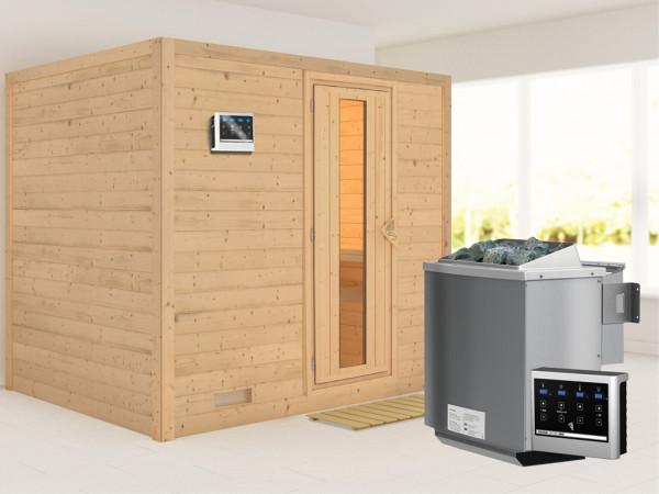 Massivholzsauna Sonara Holztür mit Isolierglas, inkl. 9 kW Bio-Kombiofen ext. Steuerung