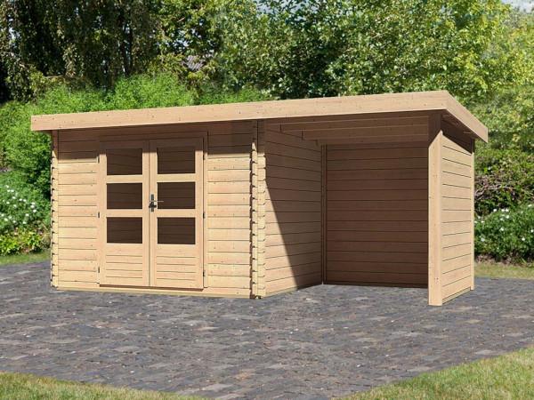 Gartenhaus BBH SET Bastrup 3 28 mm naturbelassen, inkl. 2,0 m Anbaudach + Seiten- und Rückwand