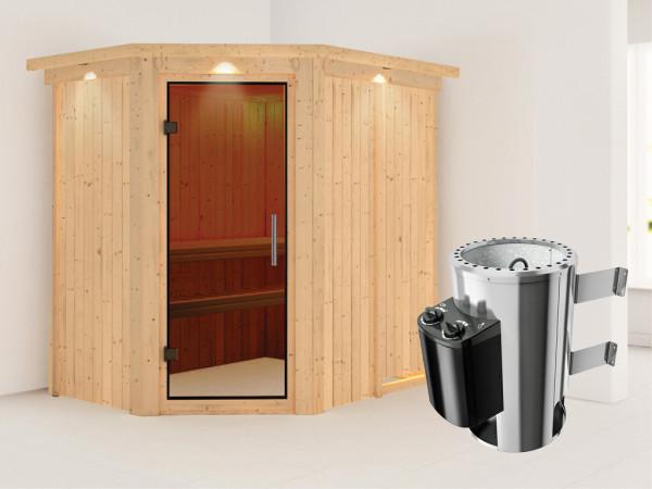 Sauna Systemsauna Saja mit Dachkranz, graphit Ganzglastür + Plug & Play Saunaofen mit Steuerung