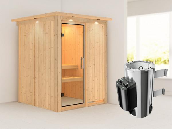 Sauna Systemsauna Minja mit Dachkranz, Klarglas Ganzglastür + Plug & Play Saunaofen mit Steuerung