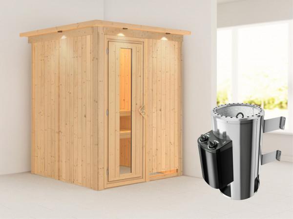 Sauna Systemsauna Minja mit Dachkranz, Energiespartür + Plug & Play Saunaofen mit Steuerung