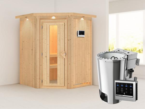 Sauna Systemsauna Nanja mit Dachkranz, Energiespartür, Plug & Play Bio-Ofen mit externer Steuerung