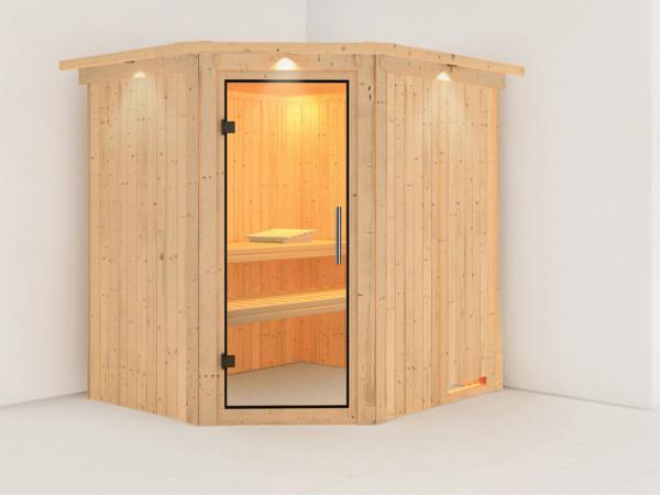 Sauna Systemsauna Siirin mit Dachkranz, Klarglas Ganzglastür