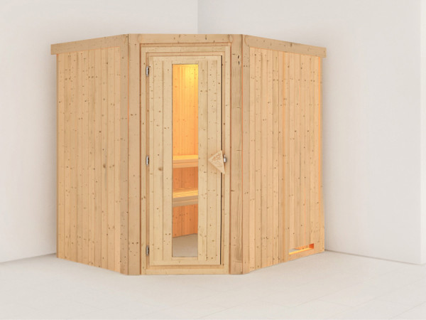 Systemsauna Siirin Holztür mit Isolierglas