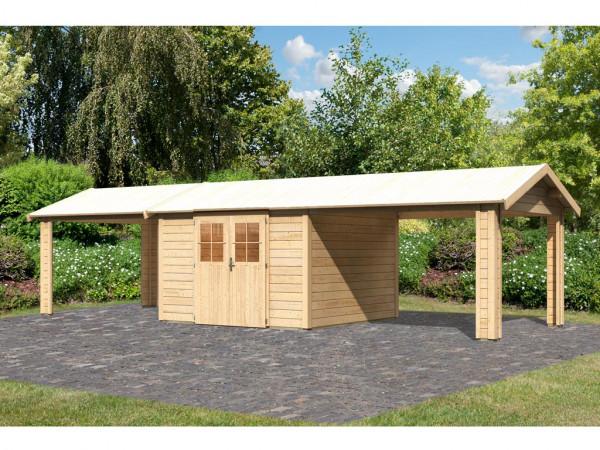 Gartenhaus SET Espelo 7 CLASSIC 28 mm naturbelassen, inkl. 2 Dachausbauelemente