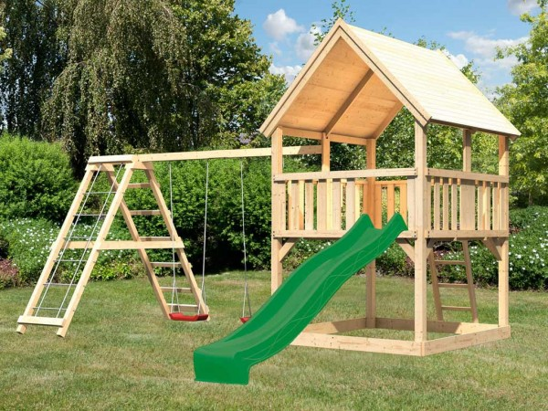 Spielturm Set Luis naturbelassen inkl. Rutsche grün, Schaukel und Klettergerüst