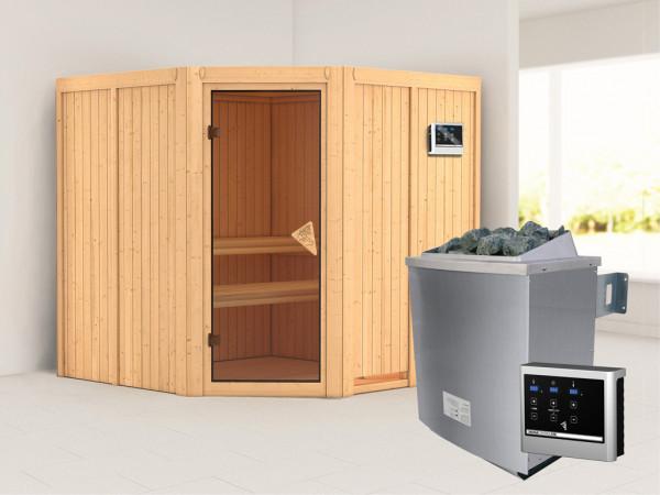 Systemsauna Jarin bronzierte Ganzglastür, inkl. 9 kW Saunaofen ext. Steuerung