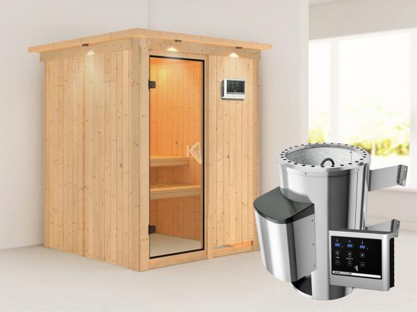 Sauna Systemsauna Minja mit Dachkranz, inkl. Plug & Play Saunaofen externe Steuerung