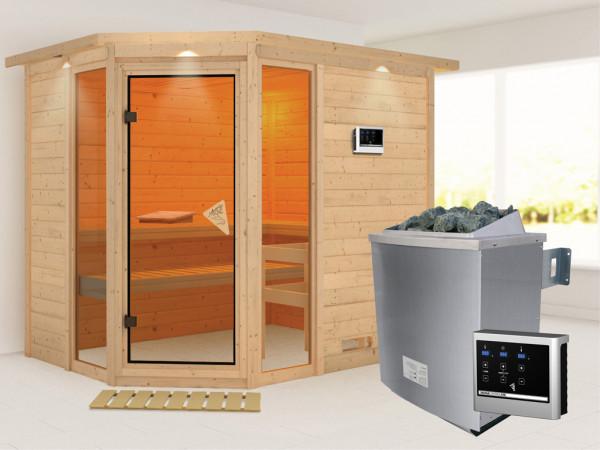 """Sauna Massivholzsauna """"Sinai 3"""" mit Dachkranz, inkl. 9 kW Saunaofen ext. Steuerung"""