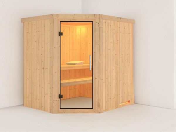 Sauna Systemsauna Lilja Klarglas Ganzglastür