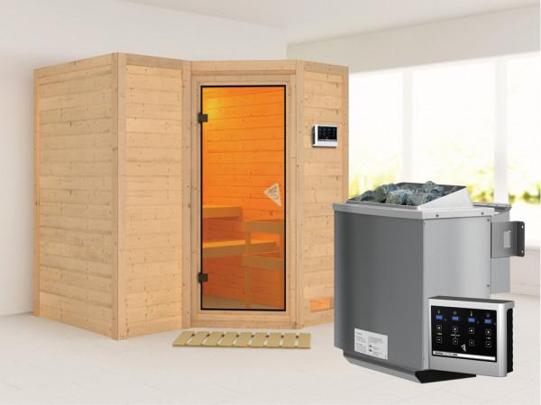 Massivholzsauna Sahib 1 bronzierte Ganzglastür, inkl. 9 kW Bio-Ofen ext. Steuerung