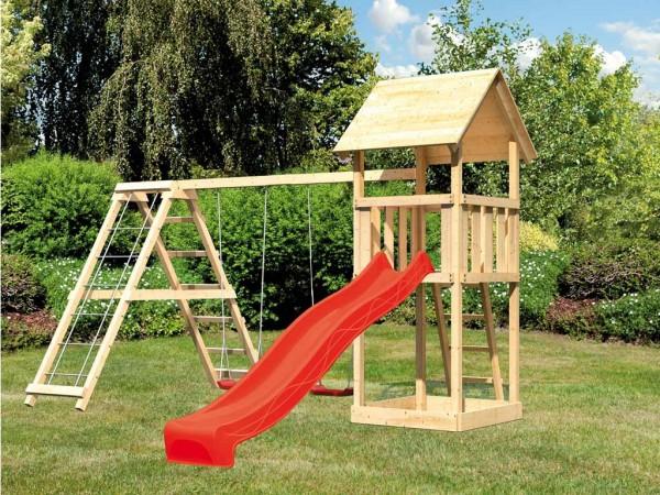 Spielturm Set Lotti naturbelassen inkl. Rutsche rot, Schaukel und Klettergerüst