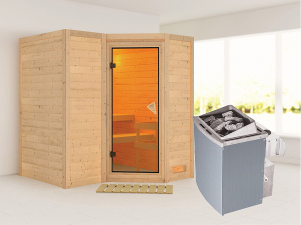 Massivholzsauna Sahib 1 bronzierte Ganzglastür, inkl. 9 kW Ofen integr. Steuerung