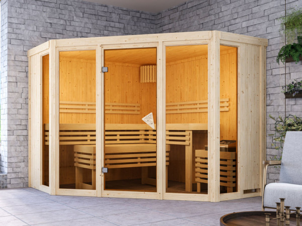 Sauna Alcinda mit bronzierter Glastür