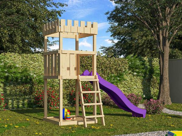 Spielturm SET Ritterburg Löwenherz naturbelassen inkl. Rutsche violett