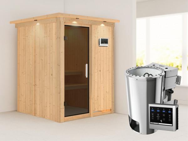 Sauna Systemsauna Minja mit Dachkranz, graphit Ganzglastür + Plug & Play Bio-Ofen mit ext. Strg