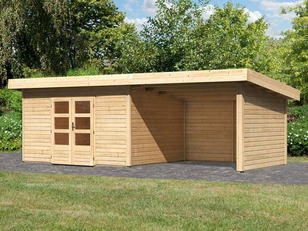 Gartenhaus SET Northeim 4 40 mm naturbelassen, inkl. 3,3 m Anbaudach + Seiten-/Rückwand