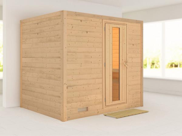 Massivholzsauna Sonara Holztür mit Isolierglas