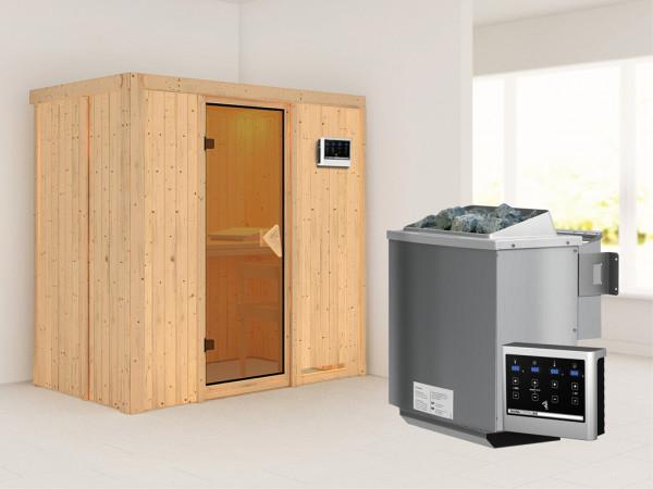 """Systemsauna """"Variado"""" bronzierte Ganzglastür, inkl. 9 kW Bio-Kombiofen ext. Steuerung"""