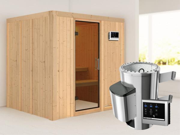 Sauna Systemsauna Daria graphit Ganzglastür + Plug & Play Saunaofen mit externer Steuerung