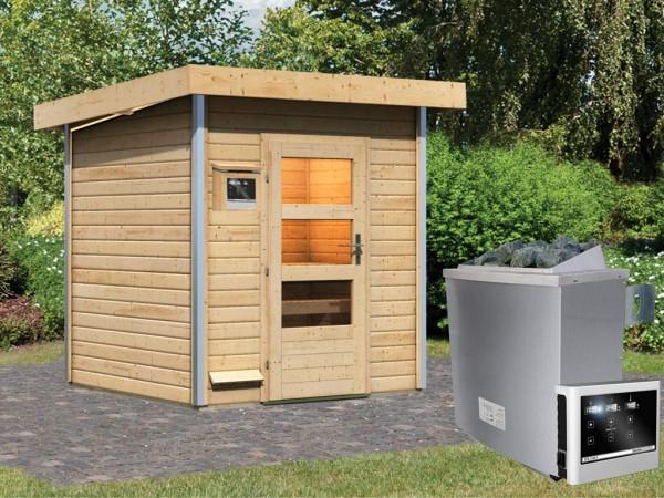 Saunahaus Torge mit Klarglastür, inkl. 9 kW Saunaofen mit externer Steuerung