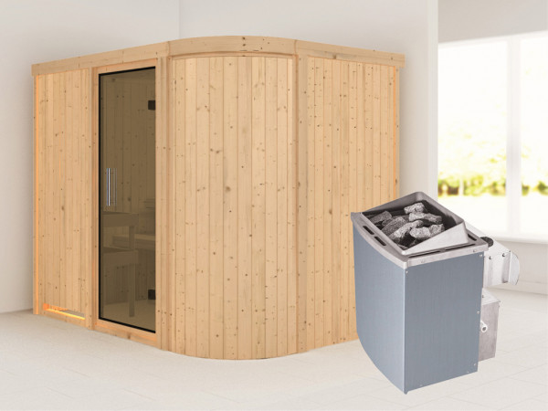 Sauna Systemsauna Titania 4 graphit Ganzglastür + 9 kW Saunaofen mit Steuerung