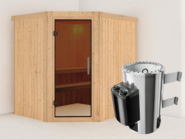 Sauna Systemsauna Lilja graphit Ganzglastür + Plug & Play Saunaofen mit Steuerung
