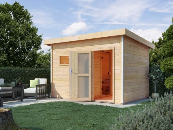 Saunahaus Skrollan 2 mit Milchglastür & Vorraum, inkl. 9 kW Saunaofen mit externer Steuerung