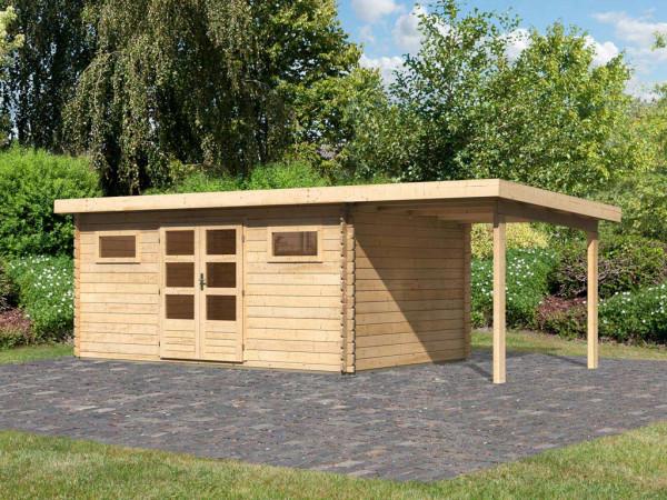 Gartenhaus Blockbohlenhaus SET Bastrup 10 28 mm naturbelassen, inkl. 2 m Anbaudach