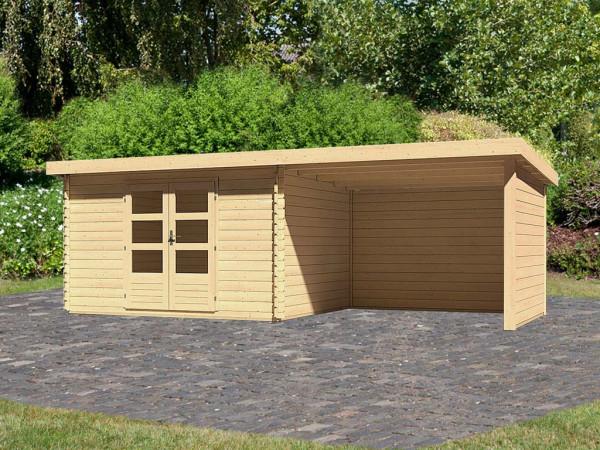 Gartenhaus Blockbohlenhaus SET Bastrup 7 28 mm naturbelassen, inkl. 3 m Anbaudach + Seiten-/Rückwand
