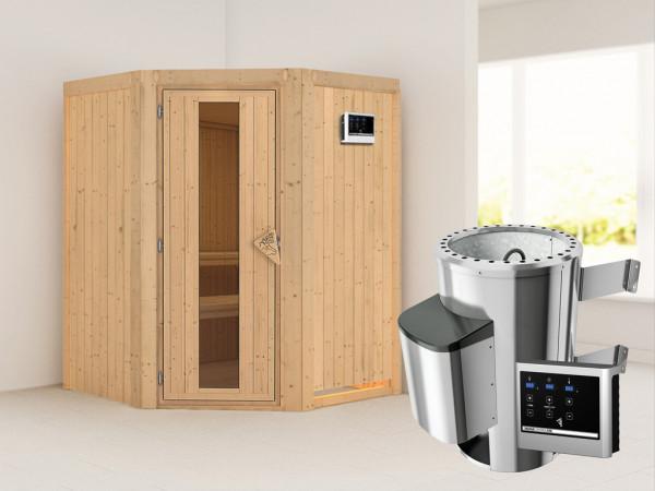 Sauna Systemsauna Nanja Energiespartür + Plug & Play Saunaofen mit externer Steuerung