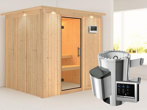 Sauna Systemsauna Daria mit Dachkranz, Klarglas Ganzglastür + Plug & Play Saunaofen mit ext.Strg
