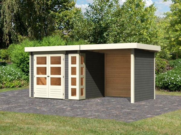 Gartenhaus SET Kerko 3 19 mm terragrau, inkl. 2,4 m Anbaudach + Seiten- und Rückwand