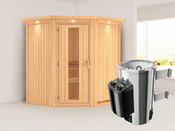 Sauna Systemsauna Tonja mit Dachkranz, Energiespartür + Plug & Play Saunaofen mit Steuerung