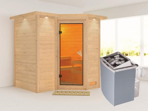 Massivholzsauna Sahib 1 mit Dachkranz, bronzierte Ganzglastür, inkl. 9 kW Ofen integr. Steuerung