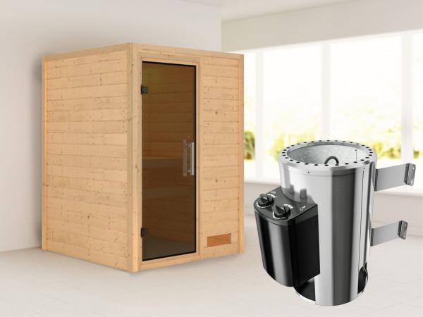 Sauna Massivholzsauna Nadja graphit Ganzglastür + Plug & Play Saunaofen mit Steuerung