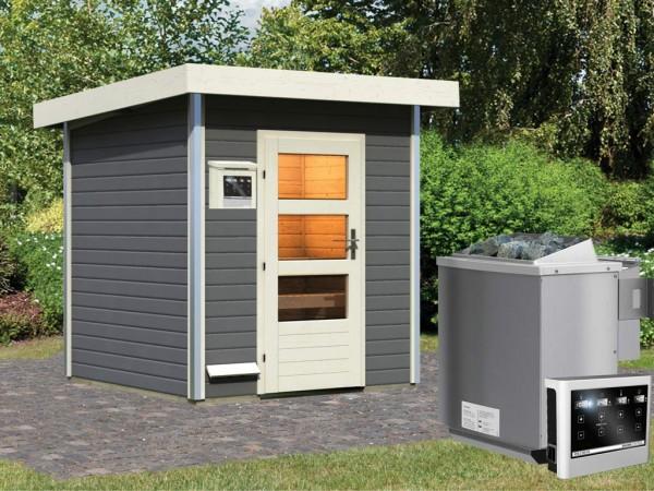 Saunahaus Torge Grau mit Klarglastür, inkl. 9 kW Bio-Kombiofen mit externer Steuerung