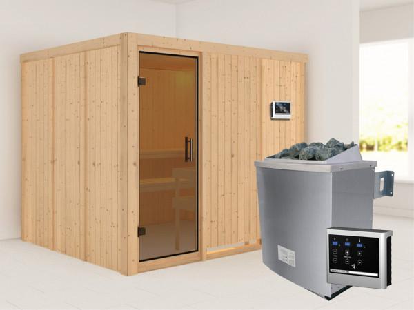 Systemsauna Gobin graphit Ganzglastür, inkl. 9 kW Saunaofen ext. Steuerung