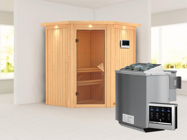 """Systemsauna """"Taurin"""" mit Dachkranz, bronzierte Ganzglastür, inkl. 9 kW Bio-Kombiofen ext. Steuerung"""