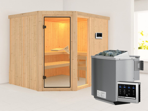 Sauna Systemsauna Fiona 3 inkl. 9 kW Bio-Kombiofen ext. Steuerung