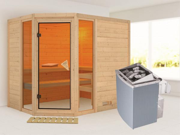 """Sauna Massivholzsauna """"Sinai 3"""" inkl. 9 kW Saunaofen integr. Steuerung"""