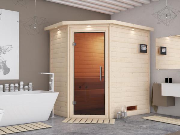 Sauna Massivholzsauna Cilja mit Dachkranz, graphit Ganzglastür + Plug & Play Bio-Ofen mit ext.Strg