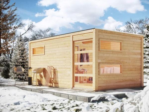 Saunahaus Hygge mit Schiebetür & Vorraum, inkl. 9 kW Saunaofen mit integrierter Steuerung