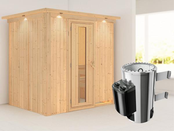 Sauna Systemsauna Fanja mit Dachkranz, Energiespartür + Plug & Play Saunaofen mit Steuerung