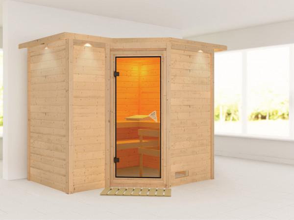 Massivholzsauna Sahib 2 mit Dachkranz, bronzierte Ganzglastür