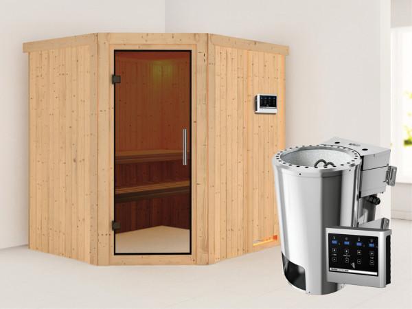 Sauna Systemsauna Lilja graphit Ganzglastür + Plug & Play Bio-Ofen mit externer Steuerung